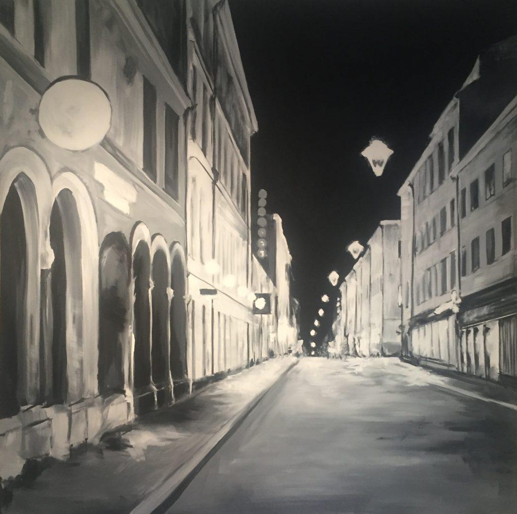 Akrylmålning i original på uppspänd duk. 150x150cm.    Sold.