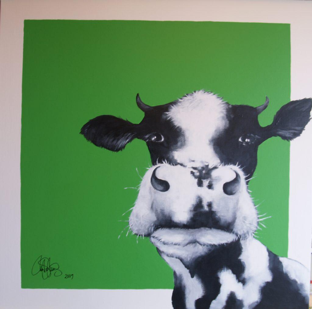 Akrylmålning i original på uppspänd duk. 90x90cm. Sold