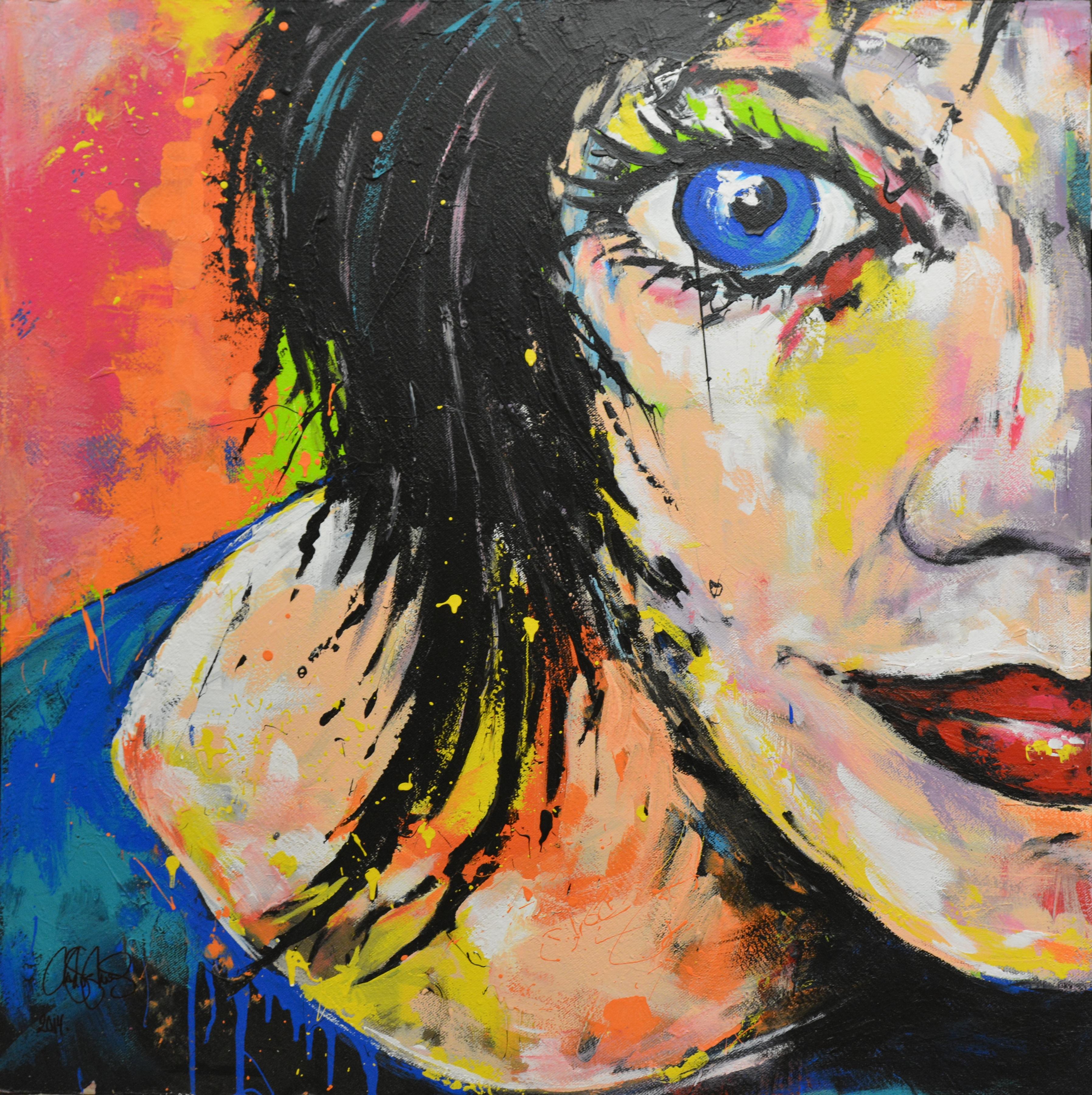 Originalmålning i akryl. Porträtt 120x120cm. Såld