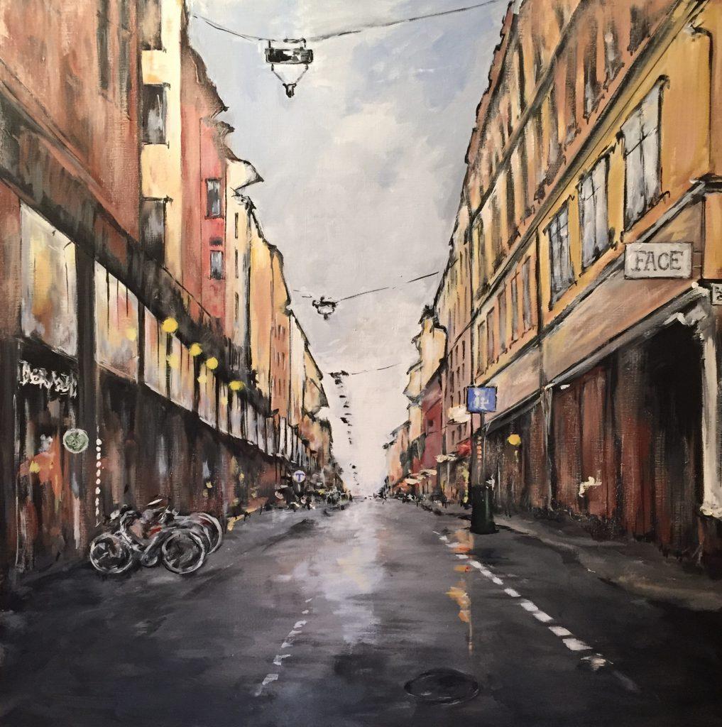 Orignialmålning i akryl. 90x90cm. For sale 6900sek.